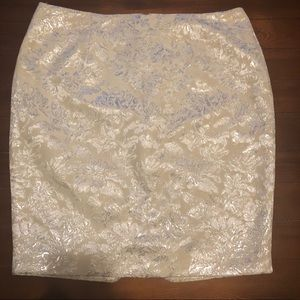Forever 21 Floral Skirt Cream Silver Size 10